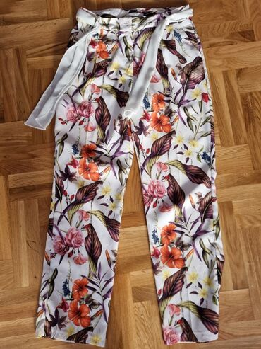 Ženske pantalone - Srbija: Lagane cvetne pantalone,broj 38,nosene jednom