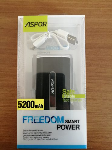 аккумуляторы от автоакб в Азербайджан: Aspor firmasindan tam original 5200 mah power bank.Yenidir ve tam