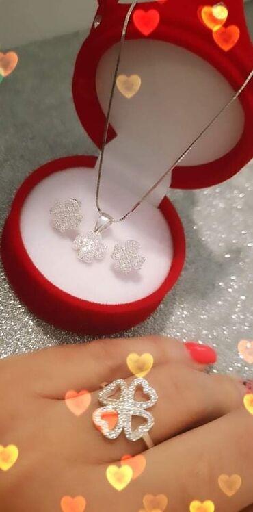 Privezak srebro - Srbija: Kompletić minđuše,prsten,privezak i sajlica Idealna ponuda i prelep