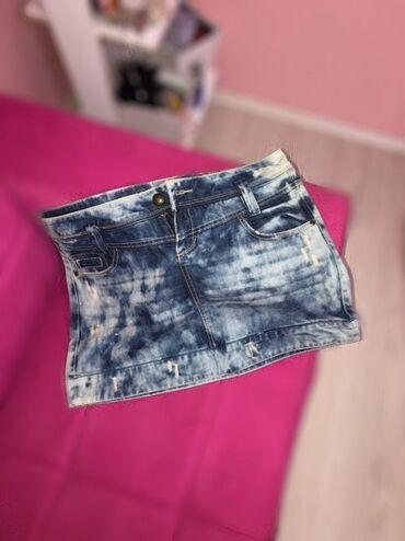 Suknjica jeans - Srbija: Jeans suknjica, nošena više puta, u jako dobrom stanju. Šarenog teksas