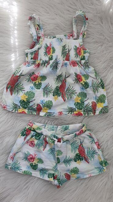 Zara letnji kompletic za devojcice, nosen jednom Velicina 74