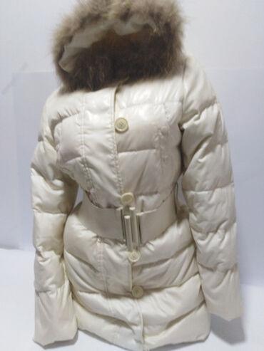 Jakna sa prirodnim krznom - Srbija: Benetton vrhunska dugačka perjana jakna sa kapuljačom i prirodnim