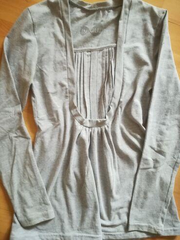 Bluzica katrin - Srbija: Pamučna prelepa bluzica vel L sive boje, obim grudi 76 cm, nošena