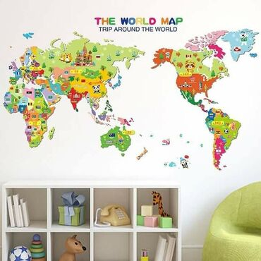 Mapa sveta sa znamenitostima zemalja – Around The World – PVC stiker