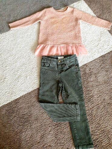 Pantalone zlatne - Srbija: Pantalone Waikiki i džemper Primark za devojčice vel 4. Džemper je