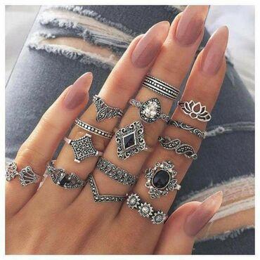 Prstenovi - Srbija: Set prstenje Tibetansko srebro