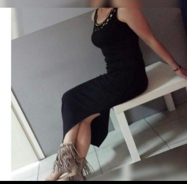 Duga crna haljina pamuk--elastin Vel S-M - Batajnica