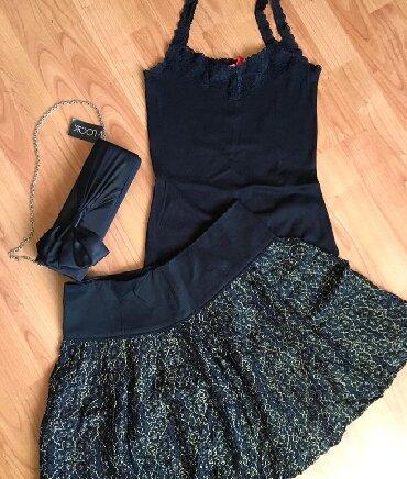 Crni sa cipkom - Srbija: Majica na bretele sa cipkom S velicina, elegantna torbica nova sa