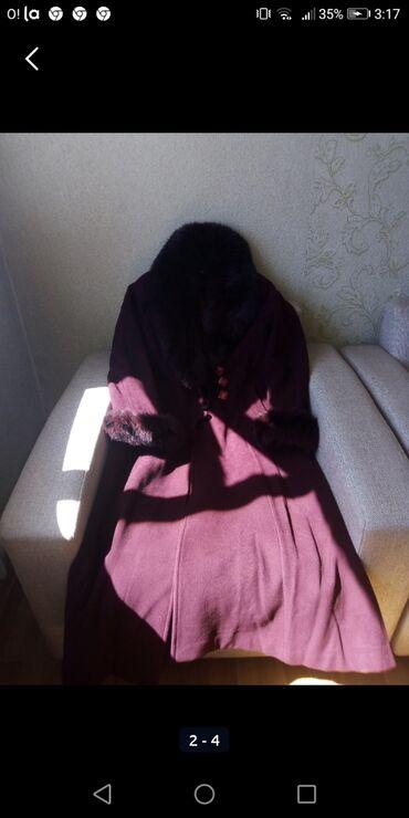 Пальто чистый кашемир цвет бардо на 48и 50 классный мех песец за 3000с