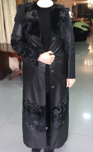 Плащ кожанный с меховой отделкой и вышивкой,длинный размер 50 -импорт в Бишкек