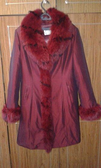 Куртка бардовая, зимняя, воротник и в Бишкек