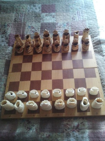 Шахматы - Кыргызстан: Шахматы в национальном стиле,ручной работы из кости,доска 45*45