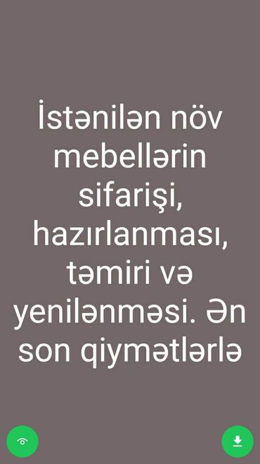 avro təmiri - Azərbaycan: İstənilən növ mebellərin sifarişi hazırlanması və təmiri