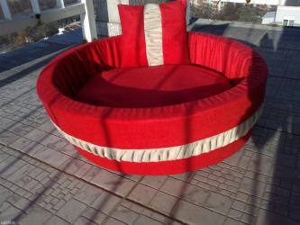 Lezaljka crvena-bež,materijal:sundjer,platno nalik plisu,neklizajuce - Belgrade