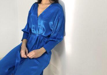 тунику платье в Кыргызстан: Продаю синее платье на запах, можно носить как тунику фирмы H&M