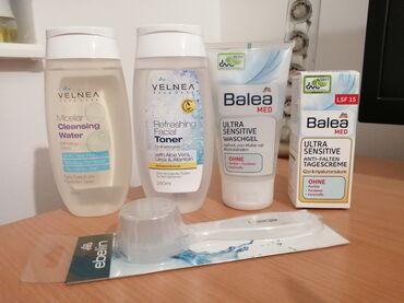 Q10 - Srbija: Set kozmetike i cetka za lice, sve je novo. 1 Velnea micelarna voda