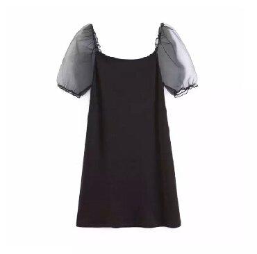 Haljina materijal elastin - Srbija: Crna haljina puf rukavi od tila, prijatan materijal, pamuk elastin
