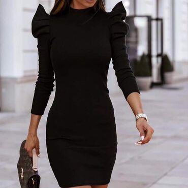Prelepa haljina sa 'puf' rukavimaMaterijal: rebrasti pamukCena: 1250
