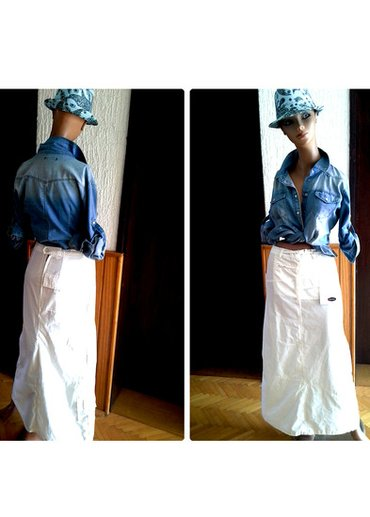 Odlicna southpolo bela duga suknja sa dzepovima. Napred jedan dzep na - Loznica