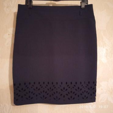 синяя юбка в Кыргызстан: Юбка темно-синяя, 44-46р, ткань немного стрейч, состояние новой