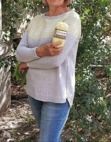 джемперы в Кыргызстан: Продается вязаный пуловер ручная работа. Связан из чистого толстого