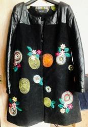 Продаю стильное демисезонное дизайнерское пальто с шикарной отделкой