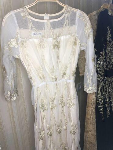 цвет нежный платье цвет в Кыргызстан: Платье в хорошем состоянии!!!Платье нежно молочного цвета с