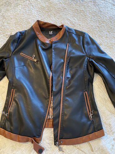 Кожаная куртка отличного качества, идеальное состояние, черного цвета