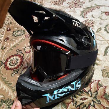 """Велоаксессуары - Бишкек: Шлем """"Mons"""" с маской. Мото вело. Подойдет для даунхила, фрирайда"""