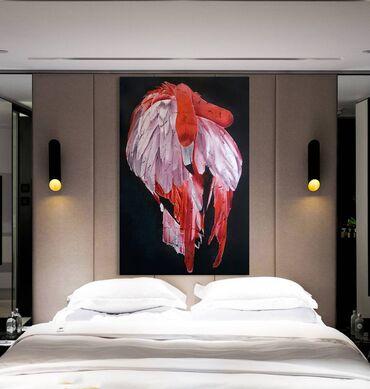 Красный фламинго. Оригинальная современная картина в интерьер