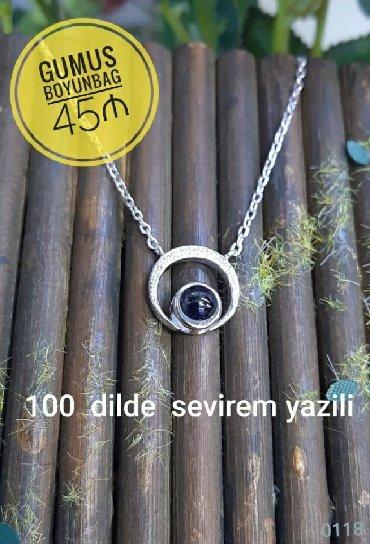 """100 dilde """"SENI SEVIREM """" Gumus boyunbag - 45 ₼"""