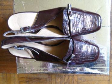 Lakovane braon sandalice, kroko print, broj 39, dužine unutrašnjeg - Belgrade