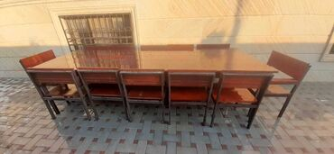 стол деревянный кухонный в Азербайджан: Bag stol stul 12 Nəfərlik Dəst 310sm*110sm8 Stul + 4 Kreslo + 1 Stol1