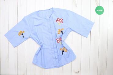 Рубашки и блузы - Цвет: Голубой - Киев: Жіноча сорочка у вертикальну смужку з принтом     Довжина: 64 см Ширин