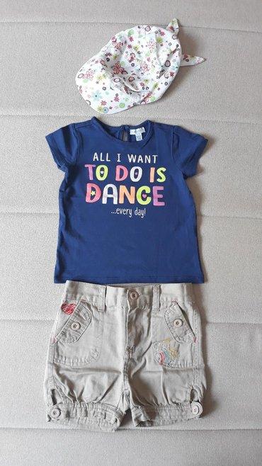 Ostala dečija odeća | Valjevo: Kompletic za devojcicu, sorc+majica+kacket Velicina 18-24 meseca