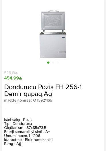 dondurucu - Azərbaycan: Dondurucu Pozis FH 256-1 Dəmir qapaq, Ağ