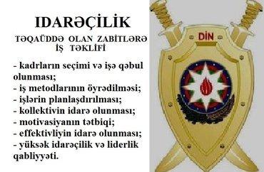 Bakı şəhərində Təqaüddə olan zabitlərə idarəçilik işi təklif olunur.