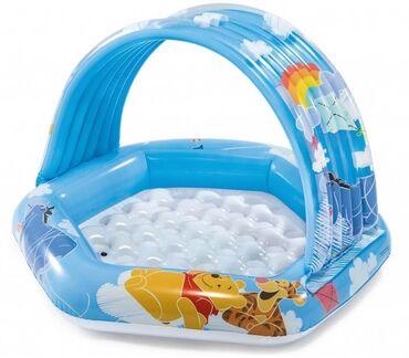 Спорт и хобби - Талас: Детский надувной бассейн «Винни пух» 109х102х71 см с навесом, 41 л.