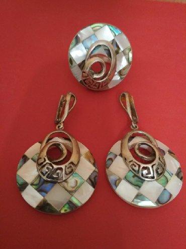 Крупный серебряный комплект из цветного перламутра 925