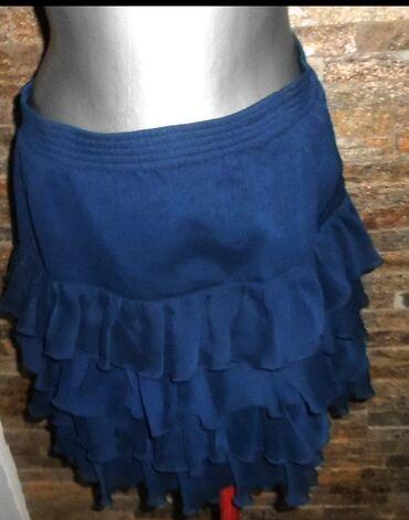 Suknja teget karneri vel. M  sirina struka je od 38 do 48