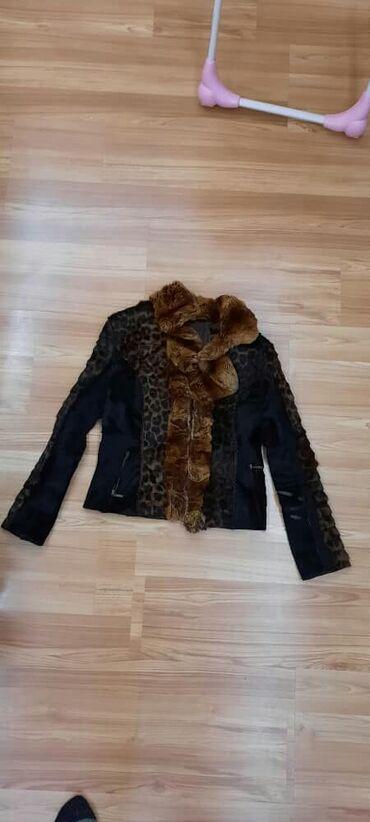 Куртка женская кожаная, натуральный мех. Чуть стерты локти