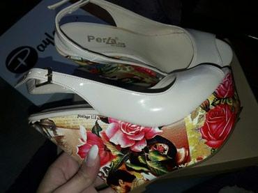 Sandale sa cvetnom platformom,br.38 Nošene jednom.. bež boja - Vranje