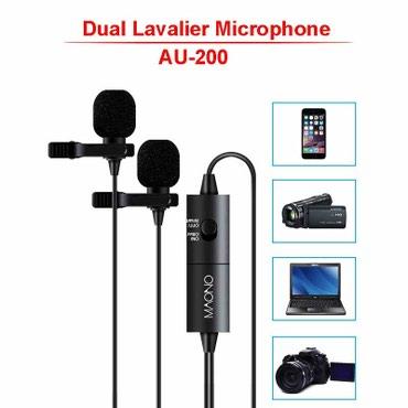 микрофон-за-телефон-цена в Кыргызстан: Петличный микрофон MAONO AU-200. двойной микрофон  цена 2500 сом