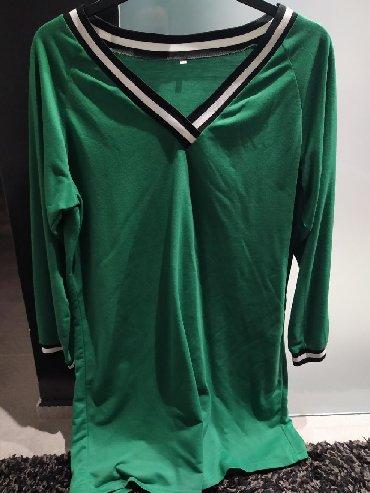 Πράσινο φόρεμα με μακρύ μανίκι μέχρι το γόνατο, αφορετο, μέγεθος l