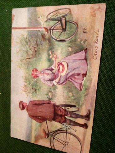 Stara razglednica-biciklo