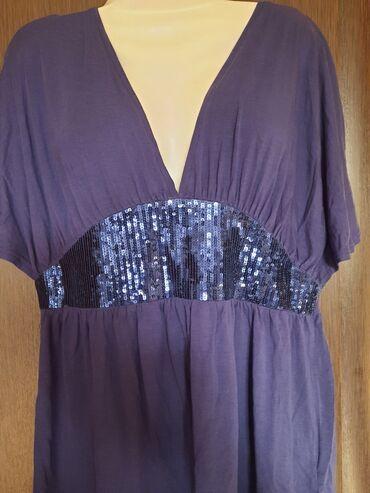 женские леггинсы со вставками в Азербайджан: Нарядная вечерняя блузка сиреневый цвета с блестящей вставкой