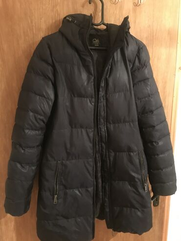 Duga zimska jakna teget boje, obucena par puta, M velicineU odlicnom