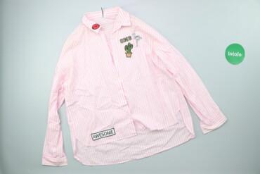 Жіноча сорочка в біло-рожеву смужку з аплікацією FB Sister, р. S   Дов