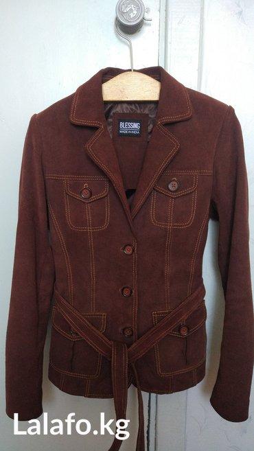 Продается замшевый пиджак-блейзер коричневого цвета. Сделано в Индии.  в Каракол