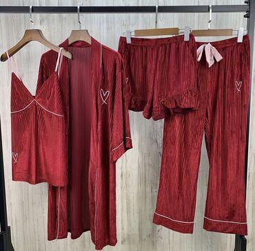 Новые шикарные велюровые пижамы 4в1